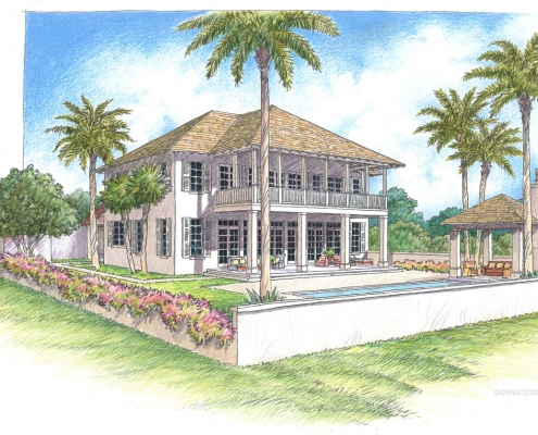 Colored Pencil Rendering of a Single Family Home on 10170 St Augustine Avenue for Windsor