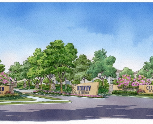 Loose Digital Watercolor Rendering of Creekview Multi Family Housing Entrance for Ping Interest