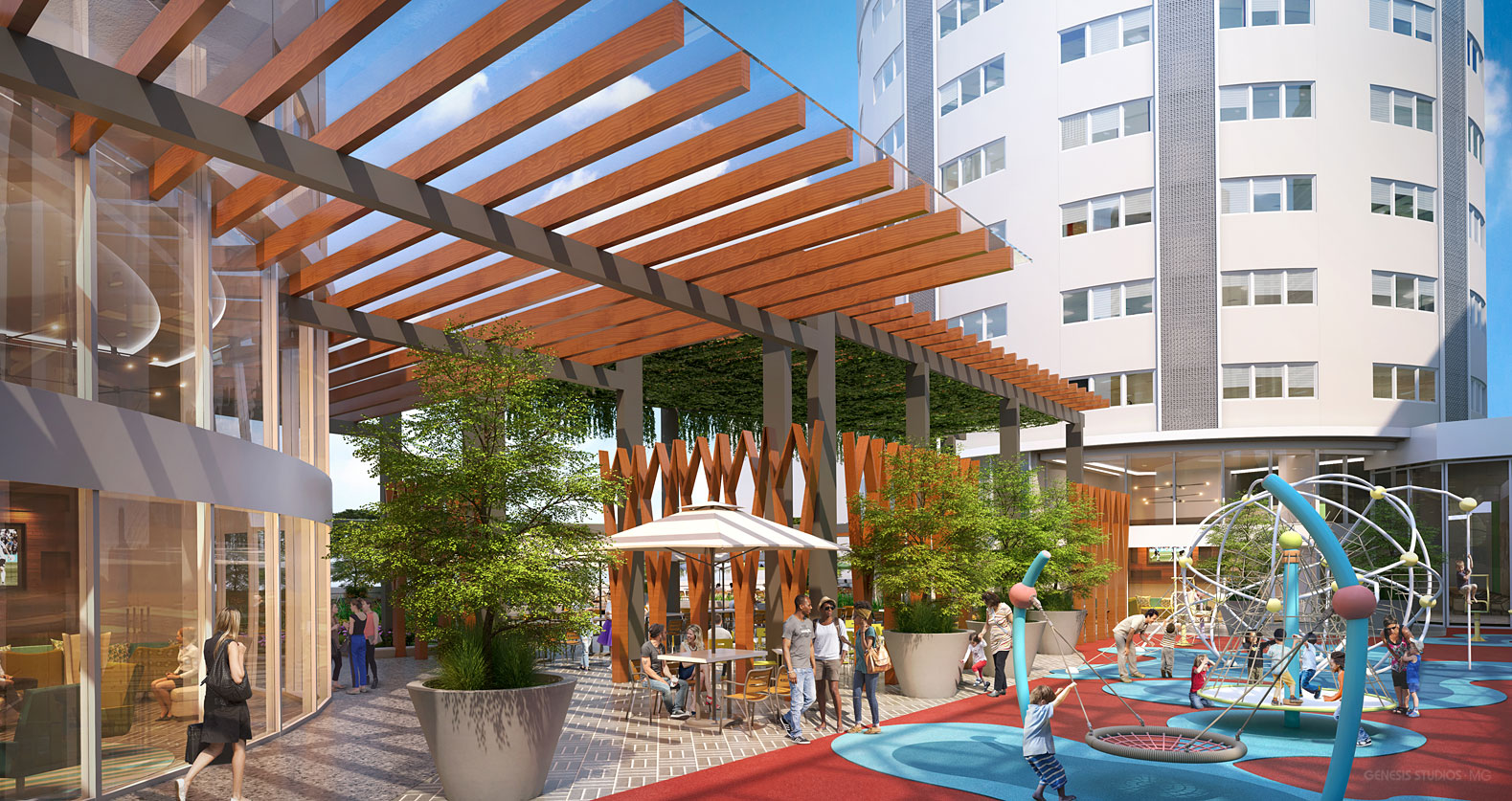 3D Photorealistic Architectural Renderings of Tijuca Shopping Mall Playground for CallisonRTKL