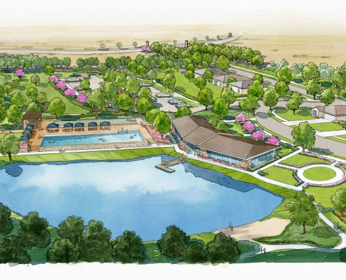 Loose Digital Watercolor Rendering of Creekview Multi Family Housing from an Aerial View for Ping Interest