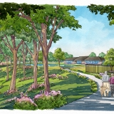 Loose Digital Watercolor Rendering of Creekview Multi Family Housing Walking Path for Ping Interest