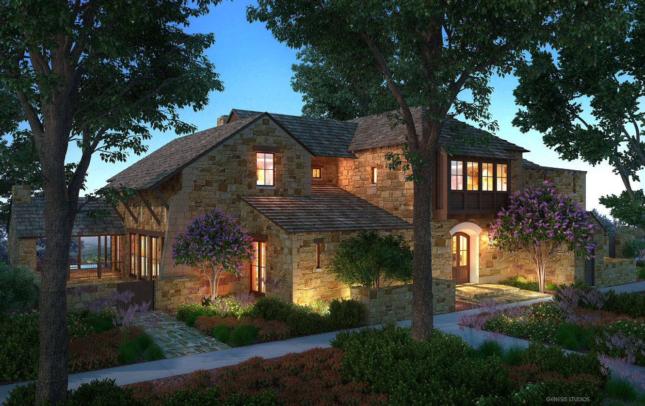 3D Architectural Renderings of Boot Ranch Villas Single Family Home Front Yard for Wheelock Communities