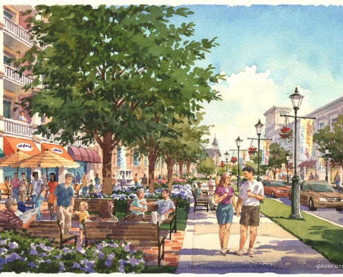 Loose Watercolor Architectural Illustration of City of Maitland for ACi Architects