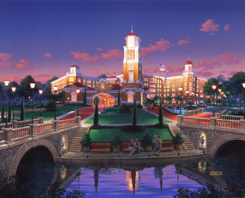 Opaque Architectural Rendering of Majestic Harbor at Dusk for Idea Incorporated