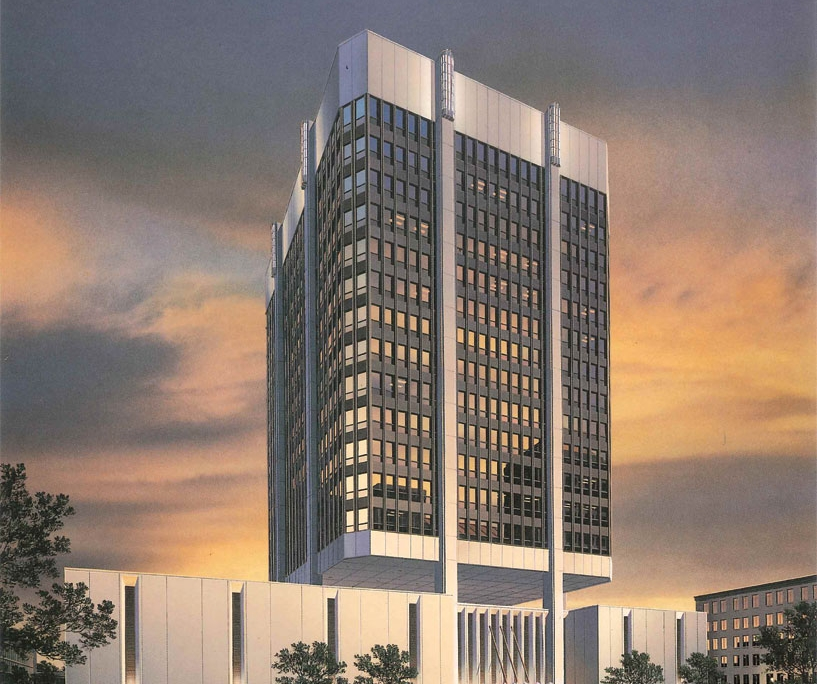 Watercolor Architectural Rendering of Firstate Tower at Dusk for VOA Associates