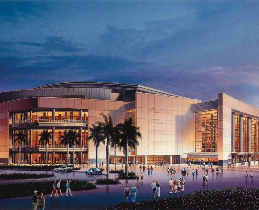 Watercolor Architectural Rendering of Broward County Arena at Dusk