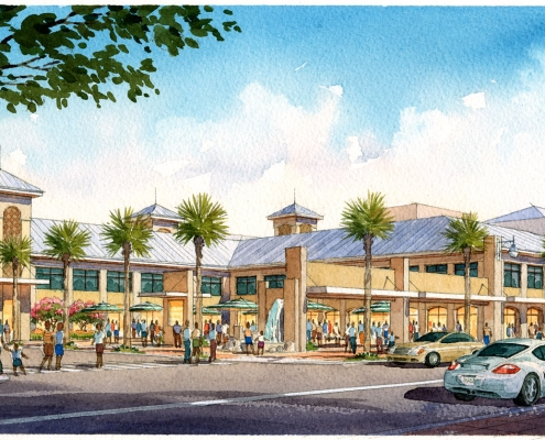 Watercolor Illustrated Rendering of Wingo Transportation Station Street for Atkins