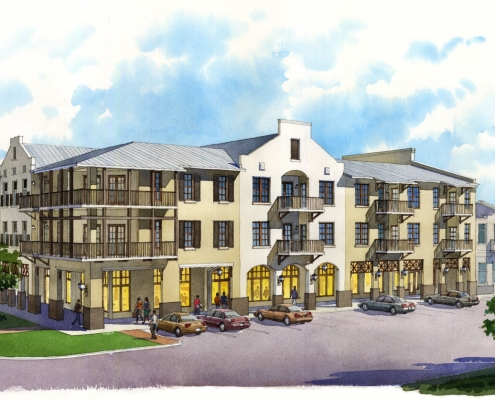 Loose Watercolor Rendering of Rosemary Beach Multi-Family Housing for Chancey Design
