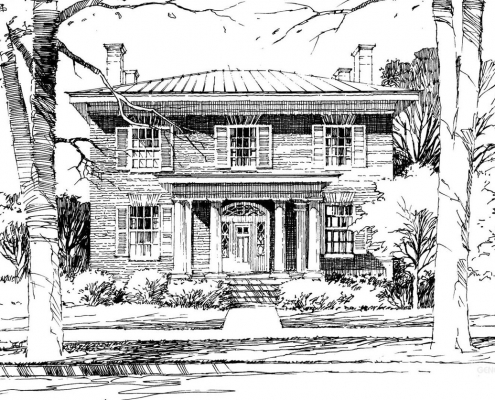 Pen and Ink Watercolor Illustration of a Classical Residence