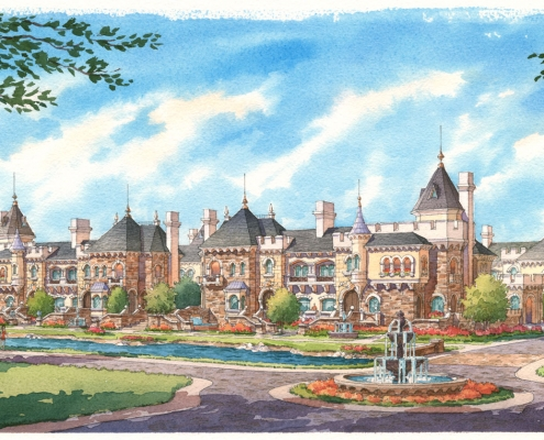 Watercolor Architectural Rendering of Crystal Lake Entrance for HHCP