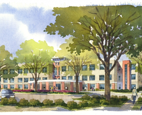 Loose Watercolor Architectural Rendering of Medical Office Building for HHCP