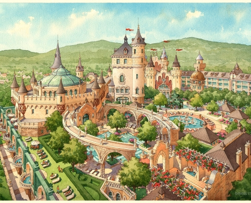 Watercolor Architectural Illustration of Mountain Spa Themed Courtyards from an Aerial View for HHCP