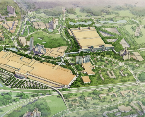 Watercolor Hand Illustrated Rendering of Orange County Convention Center from an Aerial View for HHCP
