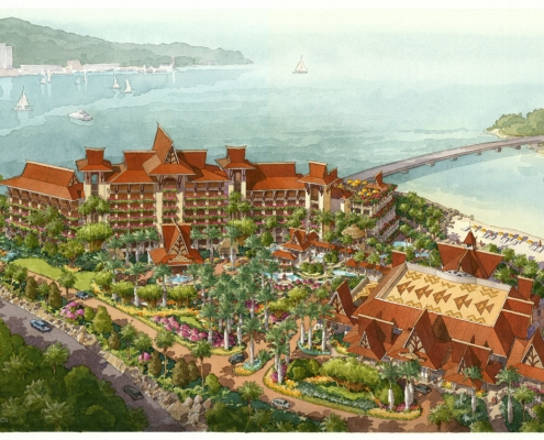 Pen & Ink with Watercolor Architectural Rendering of Sanya Monkey Island from an Aerial View for HHCP