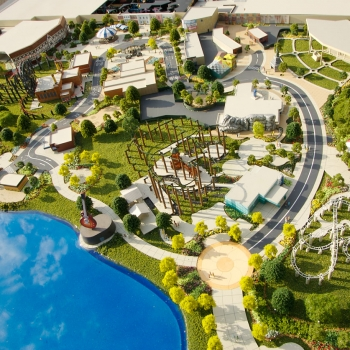 Architectural Scale Model of Hard Rock Park Lagoon from an Aerial View for Hard Rock Cafe