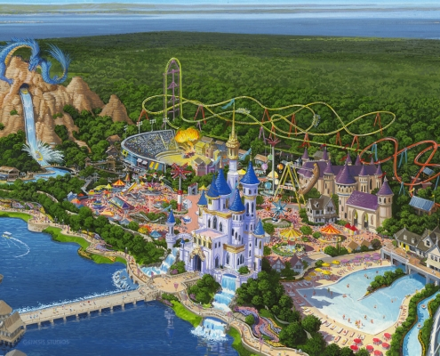 Watercolor Architectural Render of World of Dreams from an Aerial View for ITEC
