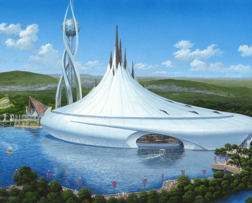Watercolor Architectural Render of World of Dreams Boat for ITEC