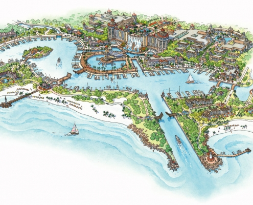 Conceptual Rendering of a Hospitality Resort in Jamaica from an Aerial View for LHDI