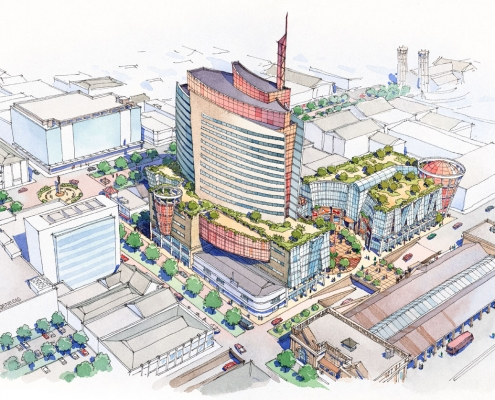 Loose Watercolor Architectural Rendering of Trinidad Multi Use Commercial Building for LHDI