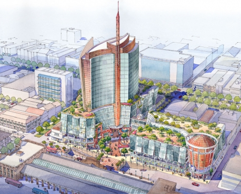 Loose Watercolor Architectural Rendering of Trinidad Multi Use Commercial Building from an Aerial View for LHDI