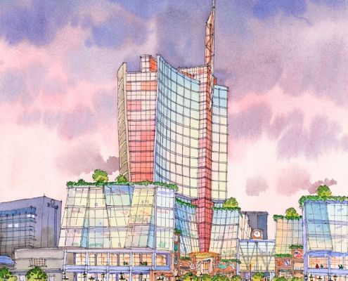 Loose Watercolor Architectural Rendering of Trinidad Multi Use Commercial Building Entrance for LHDI