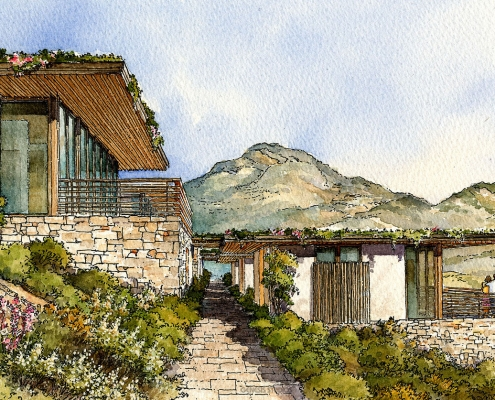 Pen & Ink with Watercolor Architectural Illustration of Villa Al Mare from the Desert View for Seldorf Architects