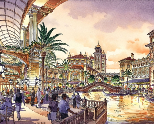 Pen & Ink with Watercolor Architectural Illustration of Global Village with a View of the Canal for TVS