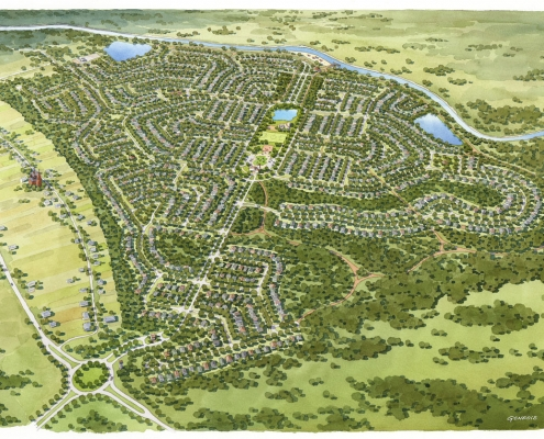 Loose Watercolor Architectural Rendering of Township Single Family Homes from an Aerial View