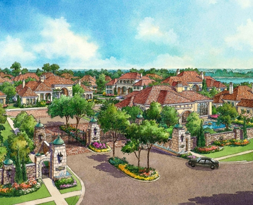 Pen & Ink with Watercolor Architectural Rendering of Colina Bay from the View of the Entrance for VSM Advertising