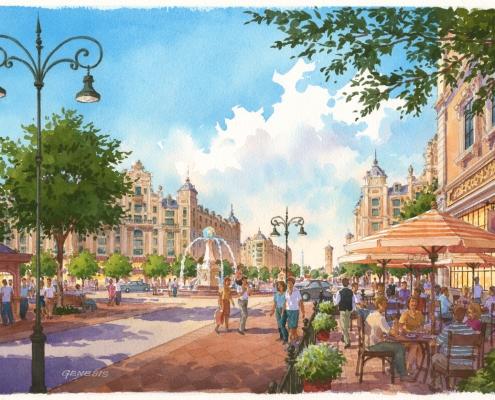 Loose Watercolor Rendering of Carillon Multi Use Street Scene for Vernanda Partners
