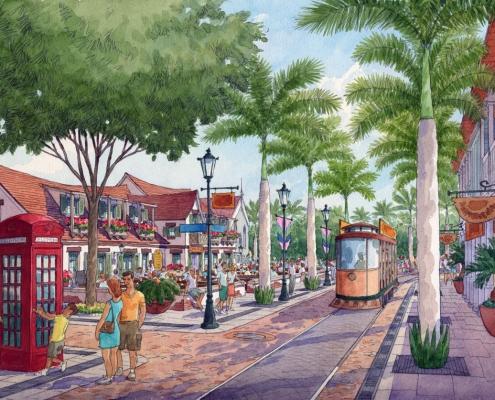 Conceptual Architectural Rendering of Tortola Pier Park Hospitality Public Area for IDEA