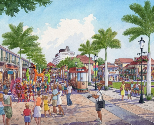 Conceptual Architectural Rendering of Tortola Pier Park Hospitality Street for IDEA