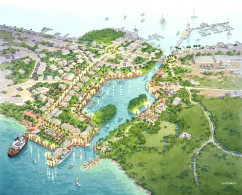 Conceptual Watercolor Rendering of Culebra Ocean Port from an Aerial View for Idea Orlando