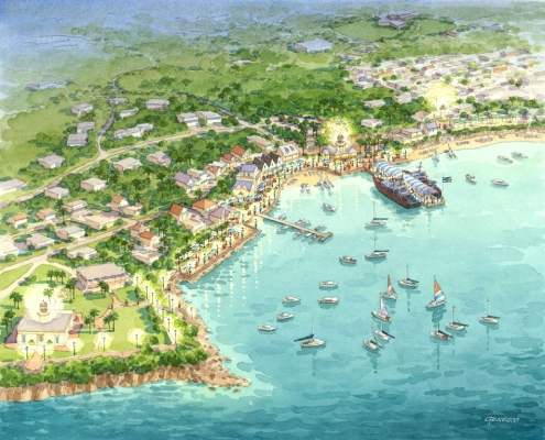 Conceptual Watercolor Rendering of Culebra Ocean Port Bay from an Aerial View for Idea Orlando