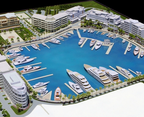 Architectural Scale Model of Albany Marina for Tavistock Development Copmany