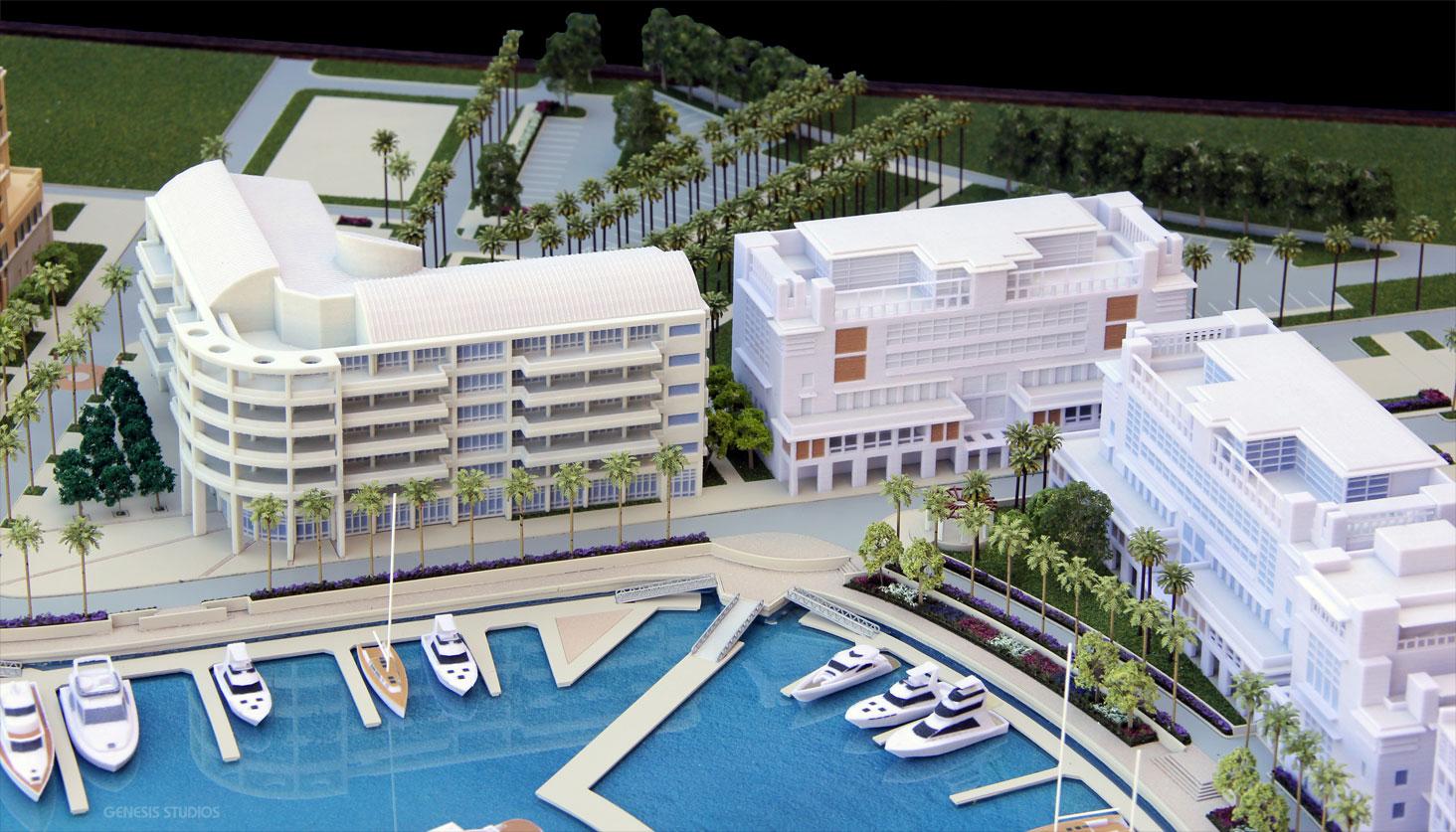 Architectural Scale Model of Albany Marina for Tavistock Development Copmany