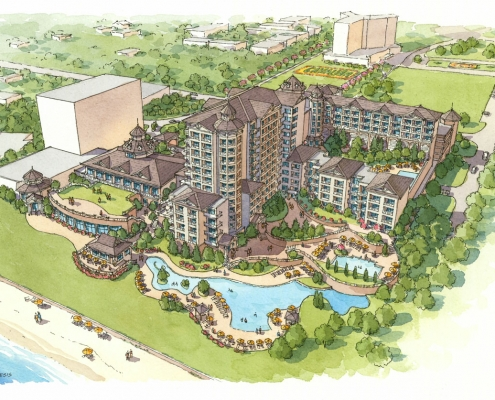 Loose Watercolor Architectural Rendering of Cavalier Hospitality Resort from an Aerial View for Cooper Carry