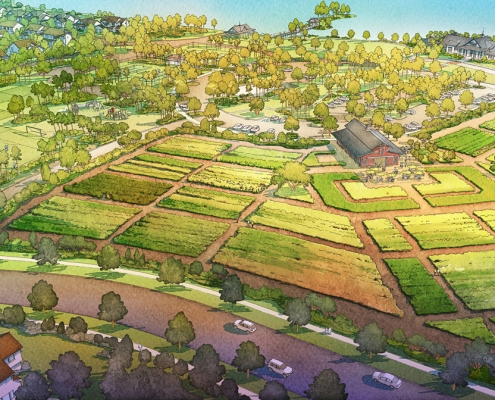 Digital Watercolor Architectural Rendering of Arden Farm for Freehold Capital Services
