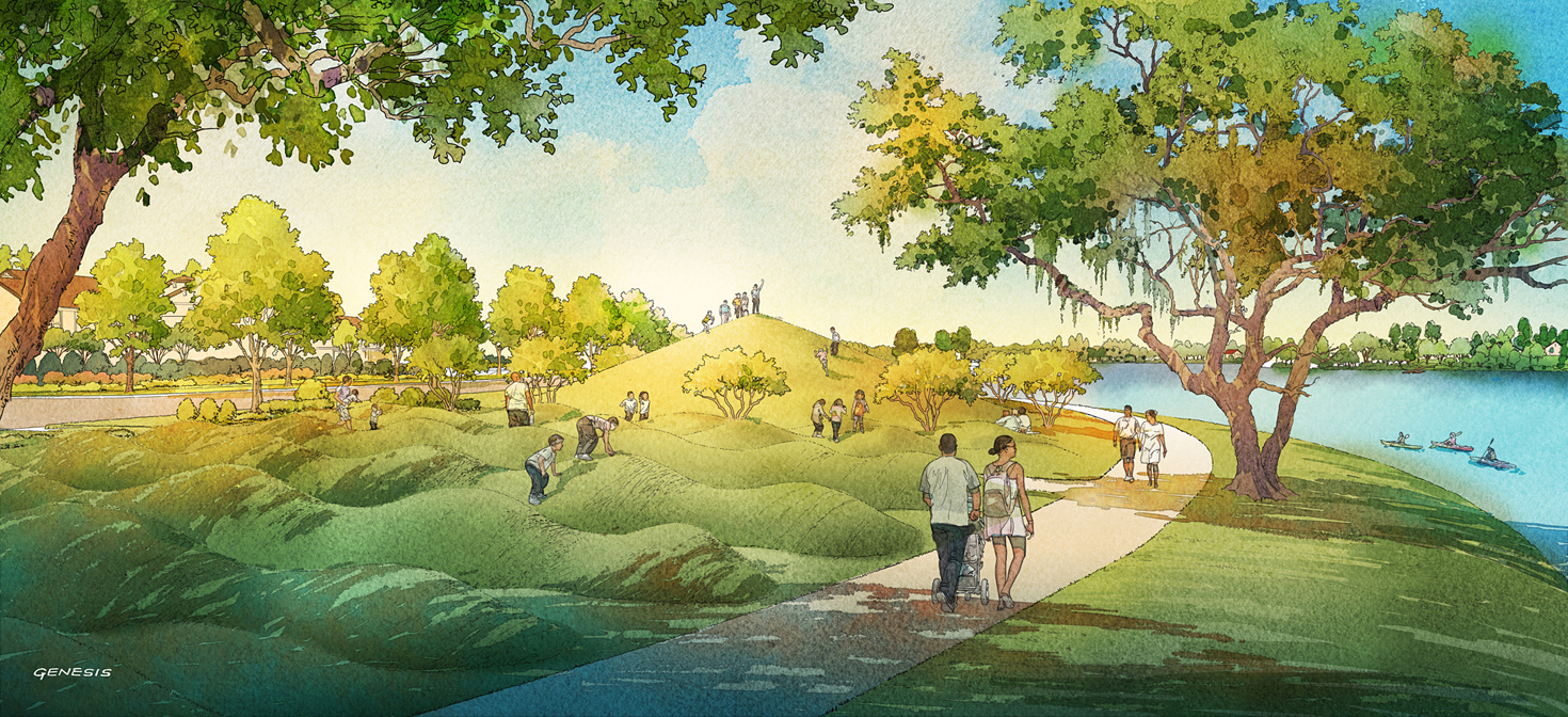 Digital Watercolor Architectural Rendering of Arden Lake for Freehold Capital Services