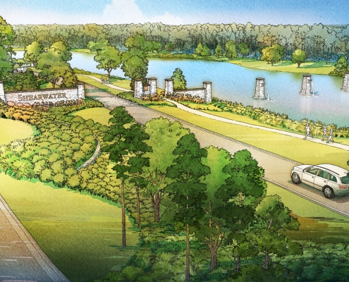 Digital Watercolor Architectural Renderings of Shearwater Entry for Freehold Capital Services
