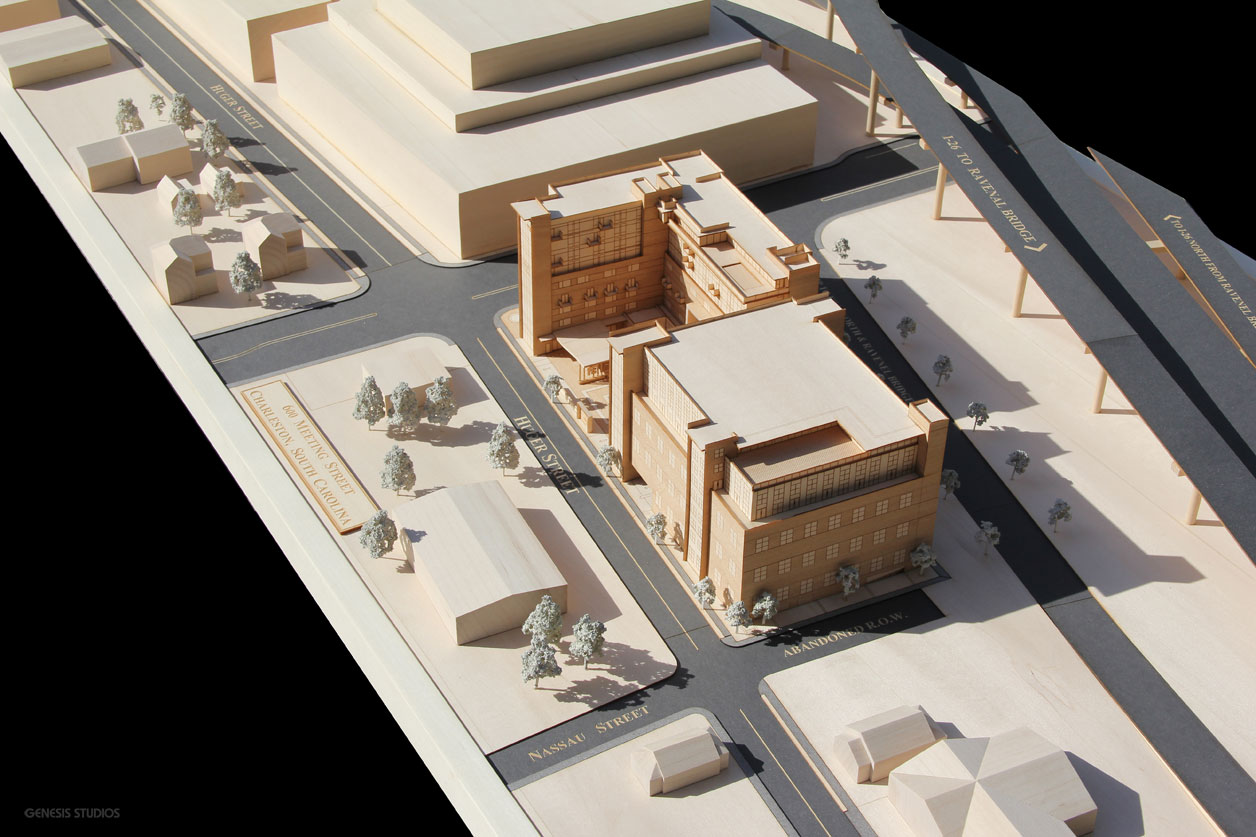 Architectural Scale Model of 600 Meeting Street Entrance Made from Basswood and Block