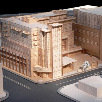 Architectural Scale Model of 600 Meeting Street Corner Made fro Basswood and Block