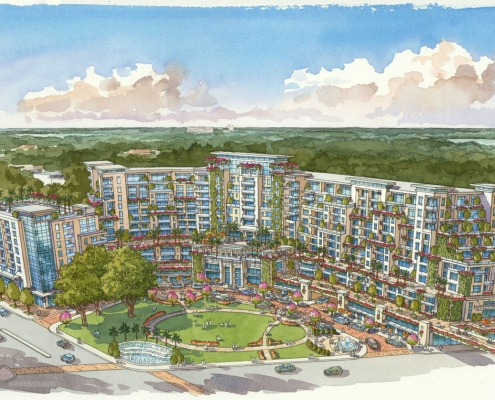 Conceptual Watercolor Rendering of Witnergate Multi Family Housing from an Aerial View for ACi Architects