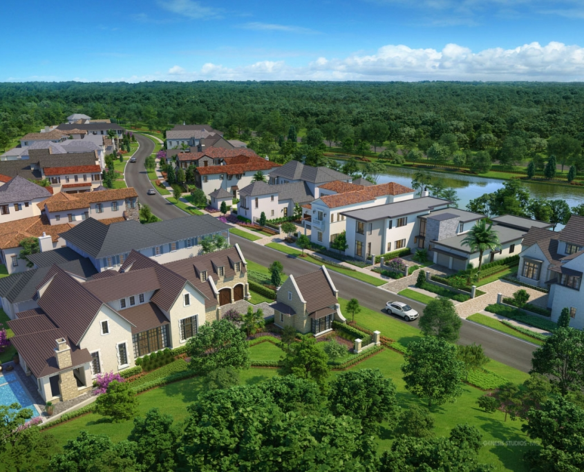 Digital Rendering of Single Family Home Neighborhood from an Aerial View