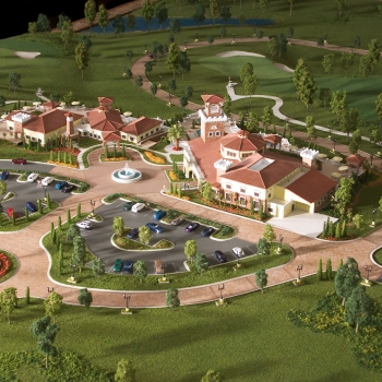 Architectural Scale Model of Bella Collina Clubhouse from an Aerial View