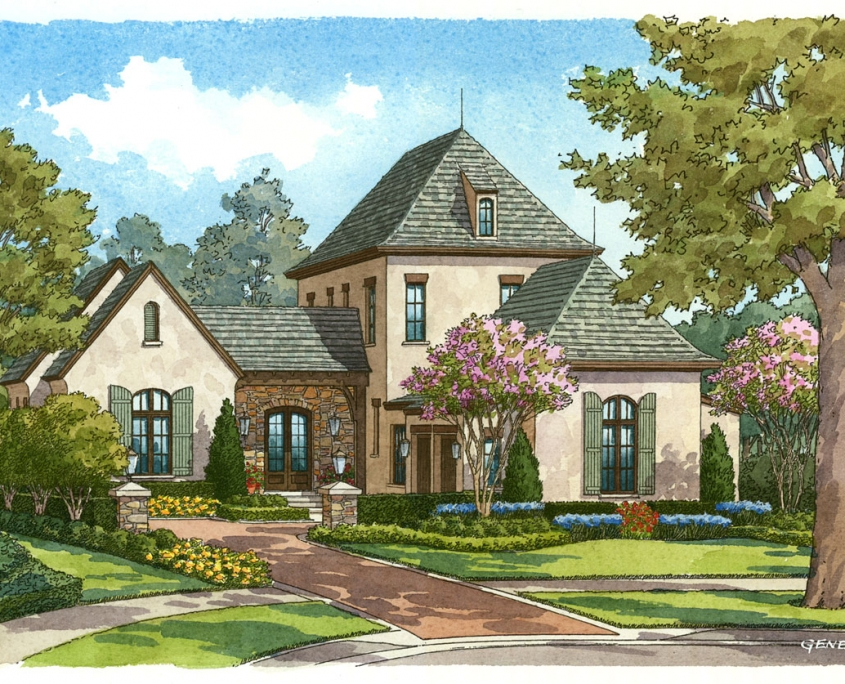 Watercolor Hand Illustrated Renderings of a Single Family Home for Cahill Homes