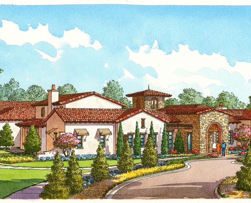 Pen & Ink with Watercolor Hand Illustration of a Clubhouse for Cahill Homes