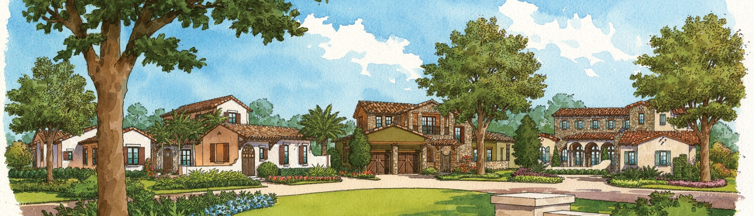 Pen & Ink Watercolor Renderings of a Streetscape for Cahill Homes