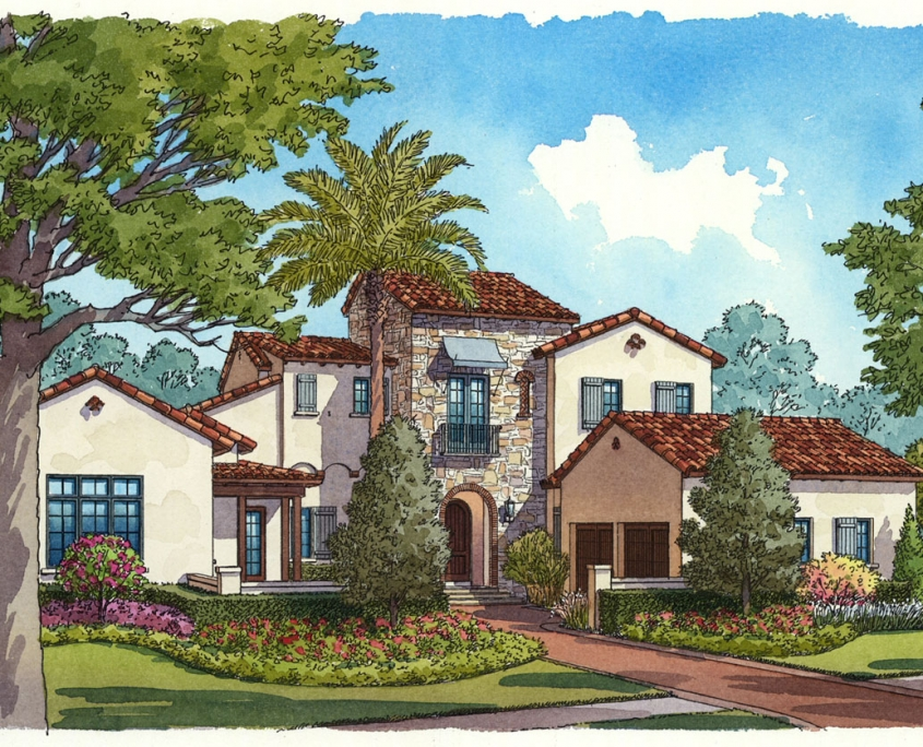 Ink and Watercolor Renderings of a Single Family Home for Cahill Homes