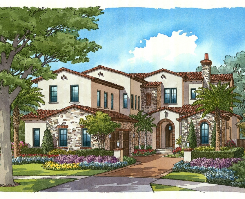 Hand Illustrated Watercolor Renderings of Single Family Home for Cahill Homes